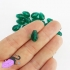 20 bead of crystal glass, teardrop, green malachite