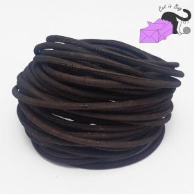 1 m di cordino in sughero, 3 mm, marrone cioccolato.