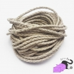 1 m of braided cork cord, antique white, 3-4 mm.