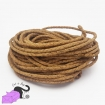 1 m of braided cork cord, natural color, 2,5-3 mm.