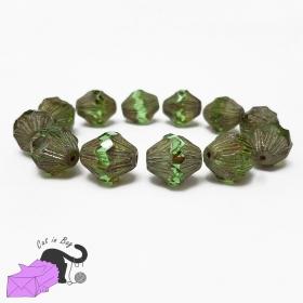 4 bicone green Czech glass beads 13x11 mm