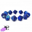 4 bicone dichroic blue Czech glass beads 13x11 mm