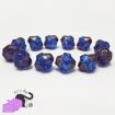 6 bicone blue Czech glass beads 11x10 mm