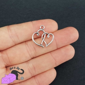10 charms with two hearts, antique silver tone
