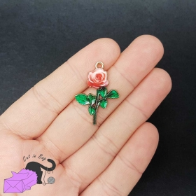 2 charms with enamel red rose