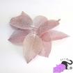 Ciondoli con foglie vere placcate in ottone color rosa argentato