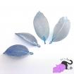 Ciondoli con foglie vere placcate in ottone color azzurro argentato