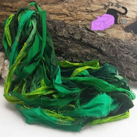 Emerald forest - sari silk ribbons