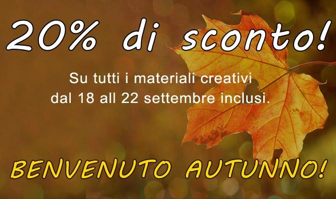 20% di sconto su tutti i materiali creativi, dal 18 al 22 settembre compresi!