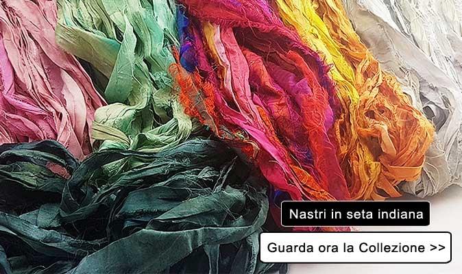 Guarda la nostra collezione di nastri in seta indiana ottenuti da sari di riciclo etici